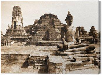 Monuments of buddah, ruins of Ayutthaya, old capital of Thailand Canvas Print