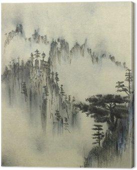 Mountain pine and fog Canvas Print