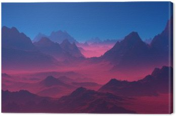 Canvas Print Mountains at sunset.