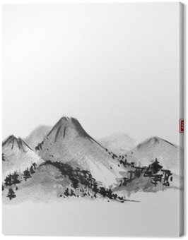 Canvas Print Mountains hand drawn with ink on white background. Contains hieroglyphs - zen, freedom, nature, clarity, great blessing. Traditional oriental ink painting sumi-e, u-sin, go-hua.