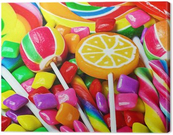 Canvas Print multicolored lollipops, candy and chewing gum