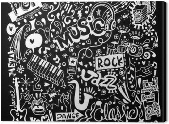Canvas Print Music Background ,Hand drawing Doodle