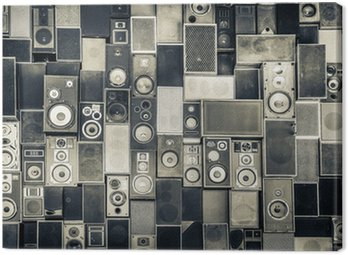 Canvas Print Music speakers on the wall in monochrome vintage style