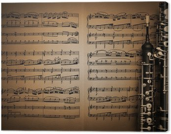 Canvas Print Musical instruments music sheet notes oboe