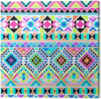 neon aztec print ~ seamless background Canvas Print
