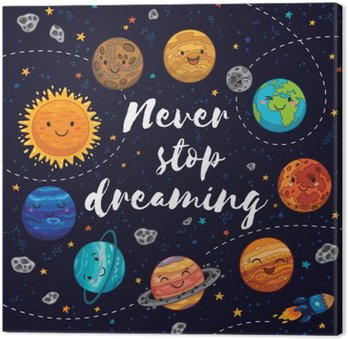 Never stop dreaming. Motivation vector illustration