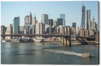 Canvas Print New York City Brooklyn Bridge downtown skyline