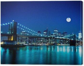 Night Scene Brooklyn Bridge and New York City Canvas Print