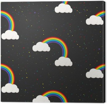 Night sky fantasy kid seamless pattern. Star confetti, clouds and rainbow boy grey wallpaper and fabric design.