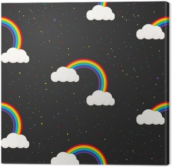 Night sky fantasy kid seamless pattern. Star confetti, clouds and rainbow boy grey wallpaper and fabric design. Canvas Print