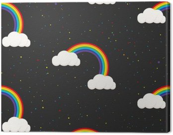 Canvas Print Night sky fantasy kid seamless pattern. Star confetti, clouds and rainbow boy grey wallpaper and fabric design.