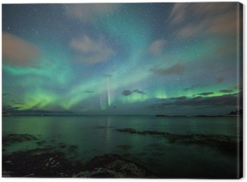 Canvas Print Northern lights above a beach in Norway
