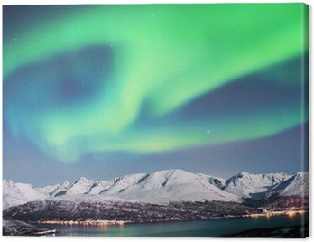 Canvas Print Northern lights above fjords in northern Norway.