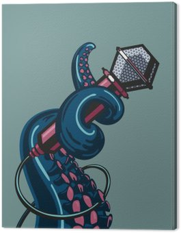 Octopus tentacle is holding a microphone. The  template for music posters