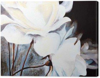Canvas Print Ölbild: Weiße Rosen