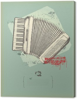 Canvas Print old accordion- drawing- music theme