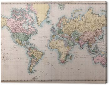 Old Antique World Map on Mercators Projection