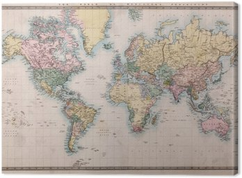 Canvas Print Old Antique World Map on Mercators Projection