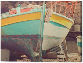 Canvas Print Old boat, abstract vintage background - impressions of Greece