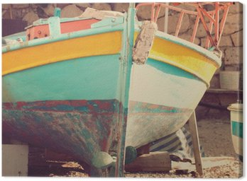 Old boat, abstract vintage background - impressions of Greece