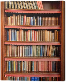 Old bookshelf with rows of books in ancient library