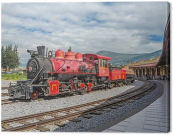 Canvas Print old locomotive train on a railroad track