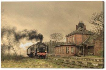 Canvas Print Old retro steam train