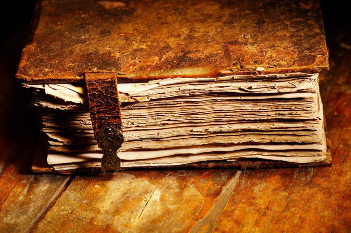 Old shabby book in leather cover