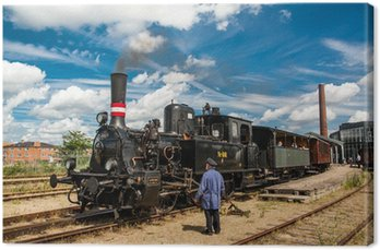 Canvas Print Old train and machinist
