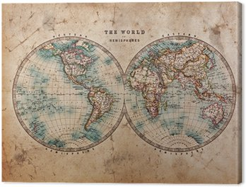 Old World Map in Hemispheres