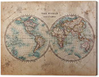 Canvas Print Old World Map in Hemispheres