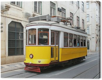 Canvas Print Old yellow Lisbon tram, Portugal