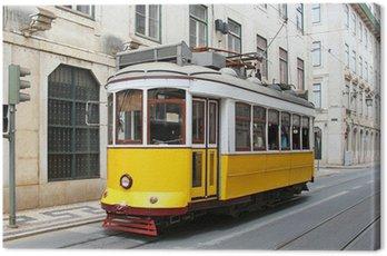 Old yellow Lisbon tram, Portugal
