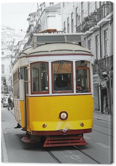 Canvas Print Old yellow tram in Lisbon