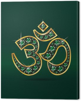 Om Symbol in Gold with Emerald Stones