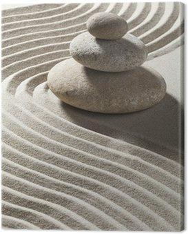 Canvas Print onde zen sur sable et trois galets