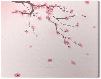 Canvas Print oriental style painting, cherry blossom in spring