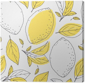 Outline seamless pattern with hand drawn lemon and leaves. Doodle fruit for package or kitchen design Canvas Print