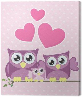owl baby family Canvas Print