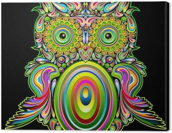 Owl Psychedelic Popart - Gufo Psichedelico Decorativo - Vector Canvas Print