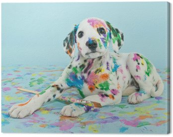 Canvas Print Painted Puppy