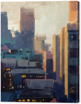 painting of skyscrapers at sunset