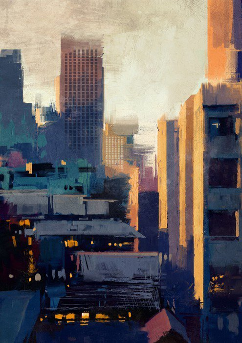 Canvas Print painting of skyscrapers at sunset - Hobbies and Leisure