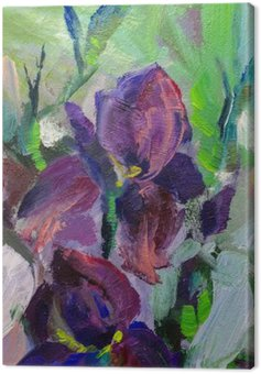 Canvas Print painting still life oil painting texture, irises impressionism a