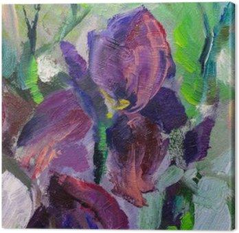 painting still life oil painting texture, irises impressionism a Canvas Print