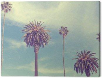 Canvas Print Palm trees at Santa Monica beach.