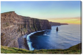 Canvas Print Panoramic view of Cliffs of Moher at sunset in Ireland.