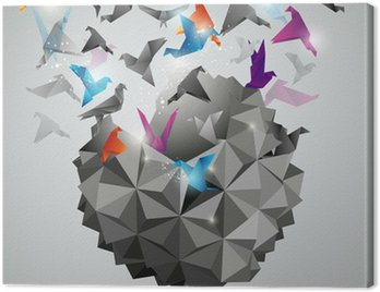 Canvas Print Paper Freedom, Origami abstract vector illustration.