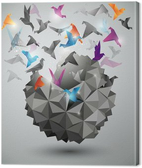 Paper Freedom, Origami abstract vector illustration. Canvas Print