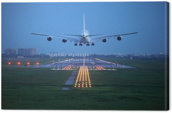 Canvas Print passenger plane fly up over take-off runway from airport